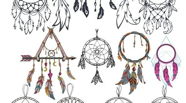 Free dream catcher set cdr corel draw vector engraving