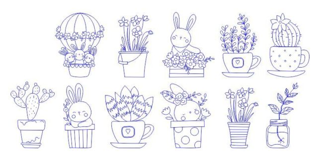 Free engraving elements bunny rabbit cdr dxf