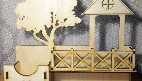 free laser cut model House with tree