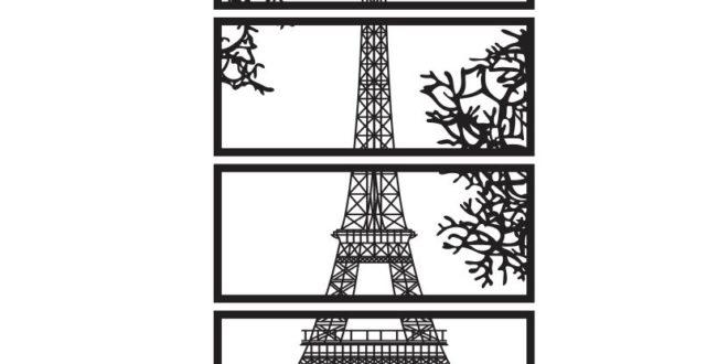 Free Cnc cut file Paris wall frame Eiffel Tower download