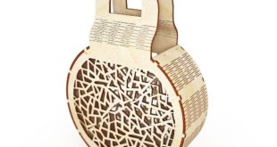 Free wood laser cut Bag folding pouch for wood cutting dxf