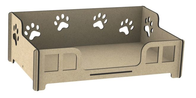 Cnc file dog bed pet wood cut vector