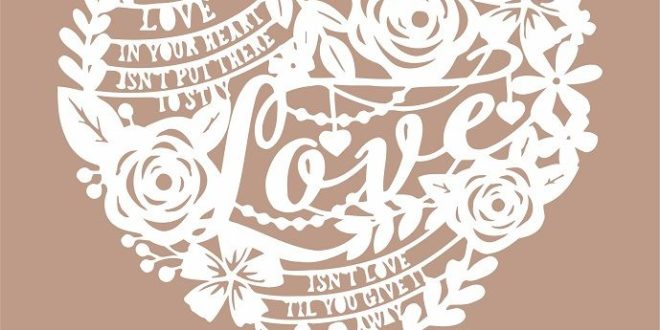 Free love paper cut silhouette file dxf svg