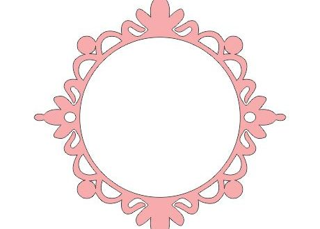 free dxf file monogram frame mirror 1