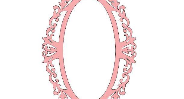 free dxf file monogram frame mirror 2