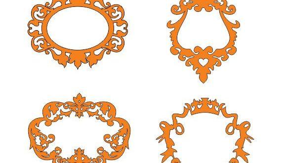 4 monograms frames mirros vectors silhouette cut dxf