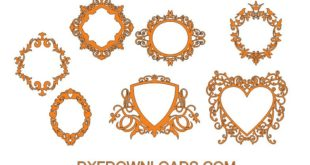 free dxf decor pack set bundle file monogram frame mirror
