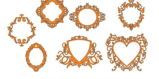 free dxf decor pack set bundle file monogram frame mirror