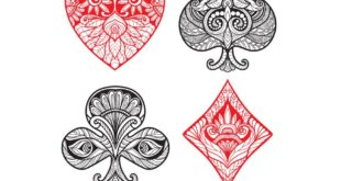 Free playing cards suits vector cdr dxf