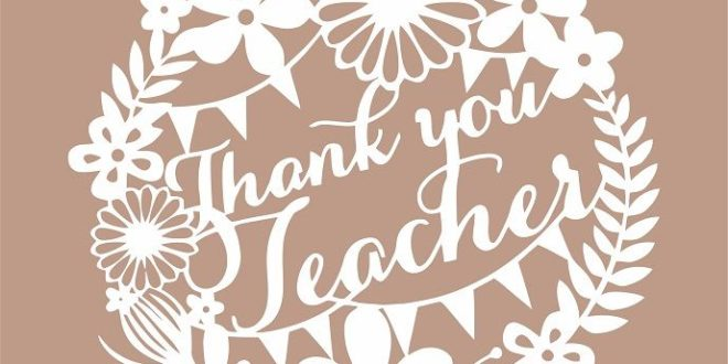 Thank you teacher decor silhouette svg dxf file vector