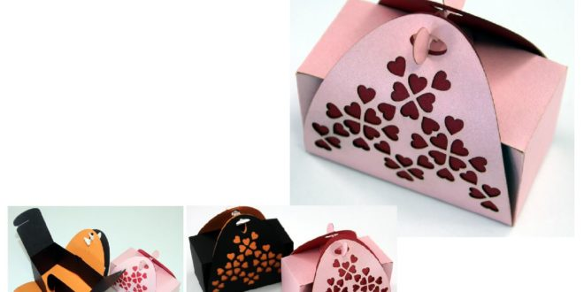 Free dxf paper cut paper craft valentins Gift Box Valentines day