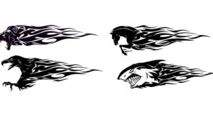 Free dxf Eagle Horse Lion Shark with Flame Tatto Tribal Sticker