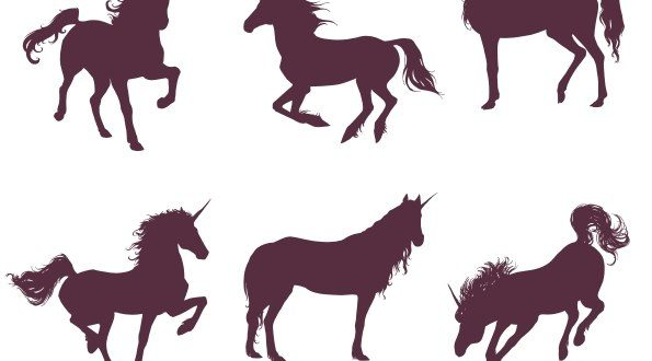 Free vector Set Unicorn Silhouettes DXF SVG