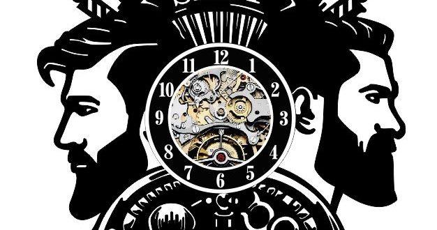 Free barber shop clock laser cut cdr dxf vector files download