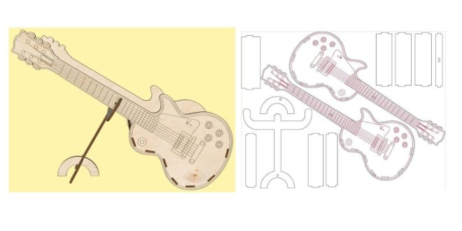 Free guitar stand laser cut