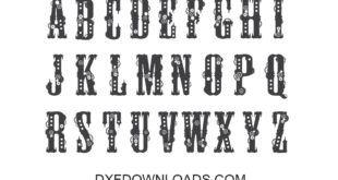 Dxf CDR Gear Font Letters