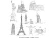 Free dxf svg world sights statue of liberty – christ the redeemer – pisa tower – big ben – eiffel tower and others