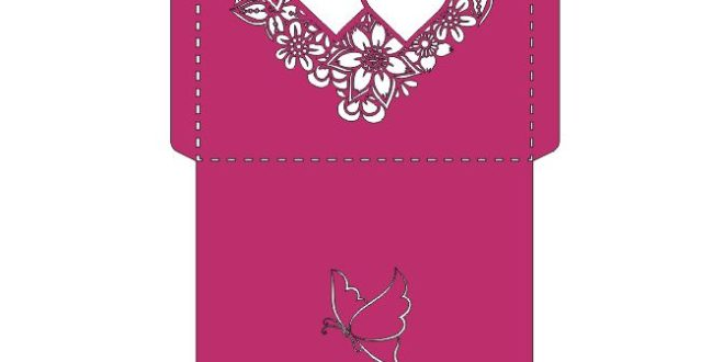 Free dxf vector template invitation paper cut envelope