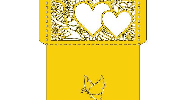 Paper cut invite envelope dxf file floral hearts