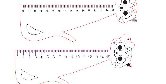 Childrens ruler vector cat