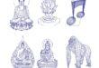 Vectors for acrylic 3d illusion goku musical key gorilla CDR DXF SVG
