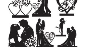 Free SVG DXF Wedding Silhouettes Bundle Vectors