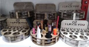 Stand for makeup items free laser cut design