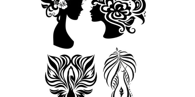 Free DXF Vectors Decorative Womens Day Silhouettes Cut Download