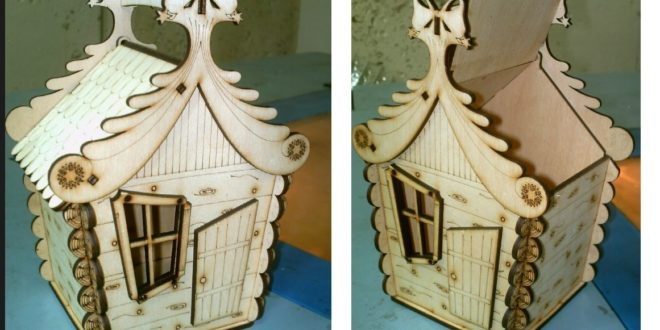 Laser cutting and engraving box cafe house CDR DXF