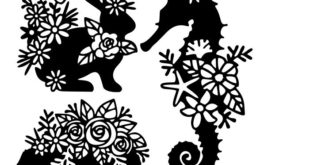 Vector floral decor dxf to cut rabbit sea horse Free download