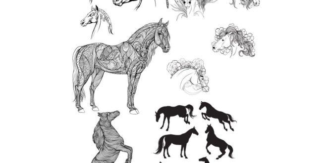 SVG DXF Horse Free set pack bundle vectors paper cricut silhouette cnc engrave