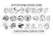Free pack 22 mix animals bundle DXF SVG