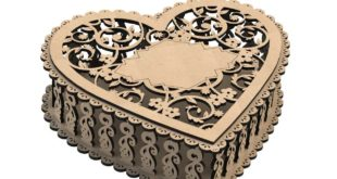 Set of 3 heart-shaped boxes for CNC cutting MDF Wood 150mm-200mm-250mm – 3mm thickness DXF Files