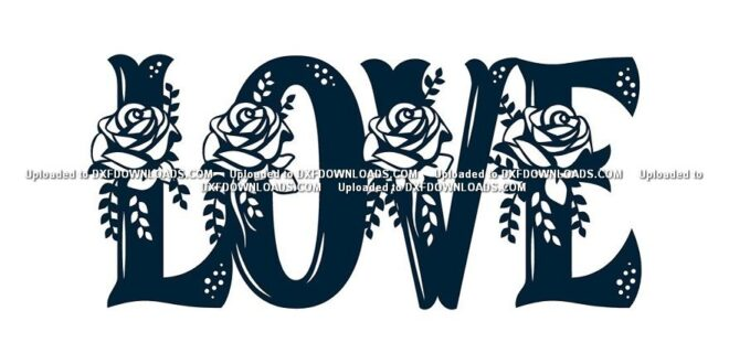 Floral Love Sign svg dxf free download