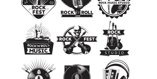 Music studio rock and roll logo svg cdr