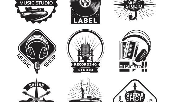 Music shop record label logo free vector