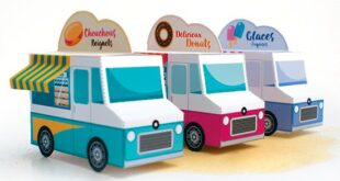 Food Trucks PDF File to Papercraft fold in paper