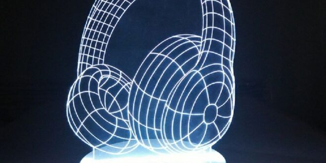 Headphones 3D illusion LED Night Light Laser engrave