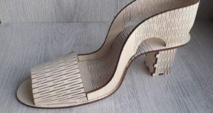 Shoe high heel wooden laser cut design