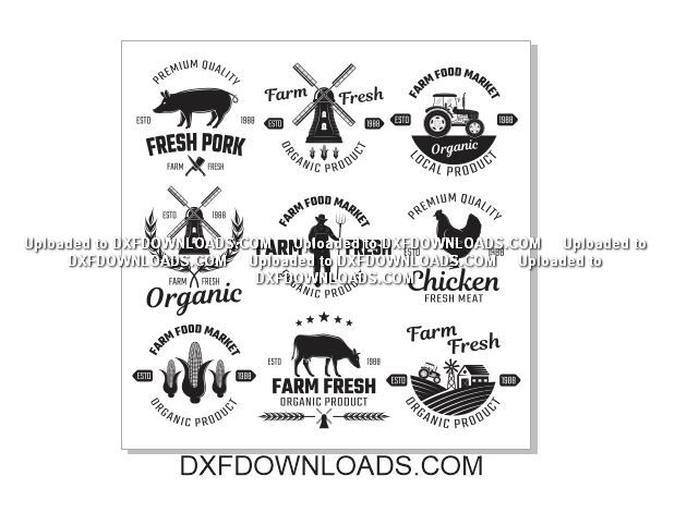 Farm Logos 2 Free Vectors Dxf Downloads Files For Laser Cutting And Cnc Router Artcam Dxf Vectric Aspire Vcarve Mdf Crafts Woodworking