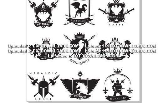 Heraldic labels vectors free