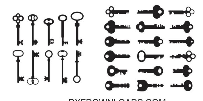 Keys dxf svg free silhouette cut vectors