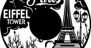 Paris france vinyl clock 4 to laser cut or sticker