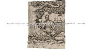 Free 3d cnc model man resting under the tree STL 1673