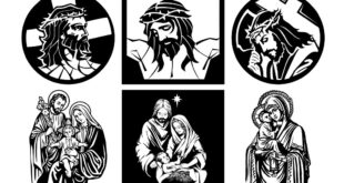 Vector CDR DXF Jesus Christ Crucifixion Virgin Mary Joseph