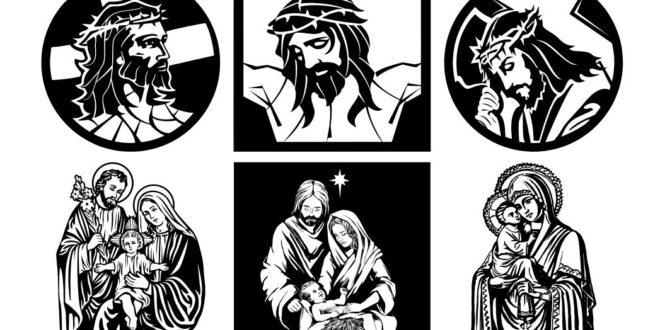 Vector CDR DXF Jesus Christ Crucifixion Virgin Mary Joseph