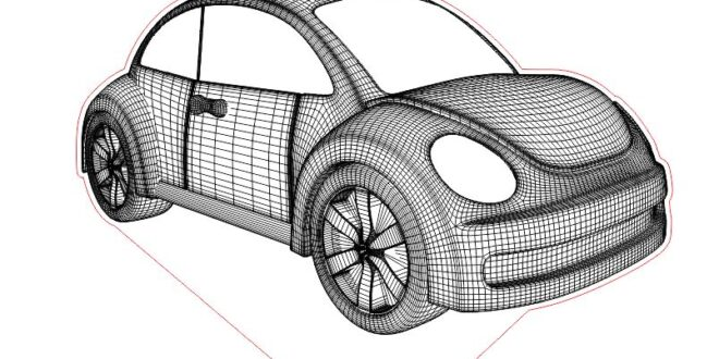 beatle wireframe 3d illusion to acrylic laser engrave