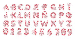 Christmas candy alphabet vector CDR DXF