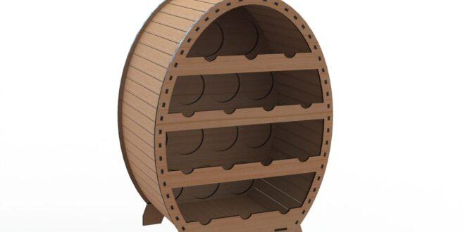 Cellar for 14 bottles cnc wood cut plan
