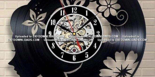Girl clock free cut vector